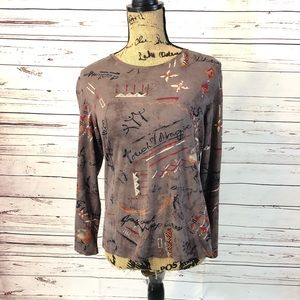 Chico's Long Sleeve Brown Graphic Top
